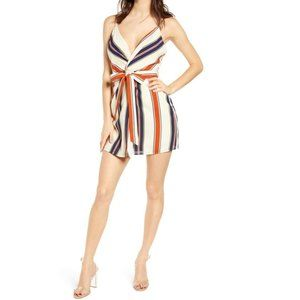 J.O.A. Ivory Striped Twist Front Minidress